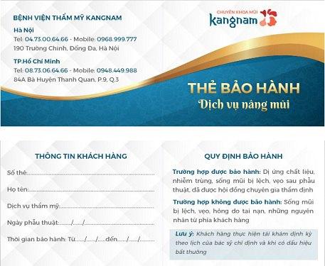 bảo hành nâng mũi Kangnam