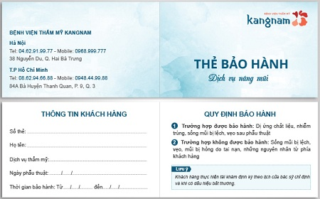 Thẻ bảo hành đảm bảo nâng mũi không bị phá tướng tại Kangnam
