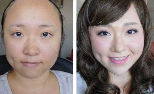 Trước và sau khi trang điểm với cách làm mũi cao và nhỏ lại tự nhiên bằng bột mì